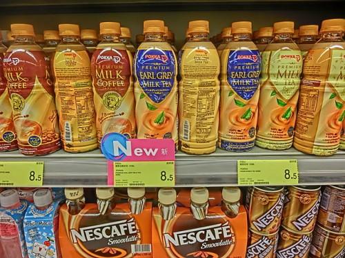 HK_Sheung_Wan_Parkn_Shop_goods_plastic_bottles_soft_drink_Milktea_Pokka_Milk_Coffee_Nescafe_Dec-2013
