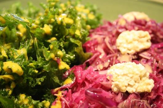 ensalada de kale y lombarda